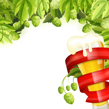 hop plant: Oktoberfest Frame with Hops, Glass of Beer and Red Ribbon, vector isolated on white background