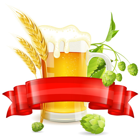 hop hops: Oktoberfest Poster with Hops, Glass of Beer, Barley and Red Ribbon, vector isolated on white background Illustration