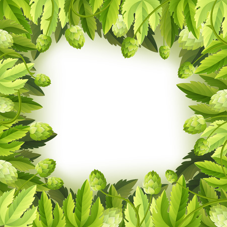 hop plant: Oktoberfest Frame with Hops and Leaves, vector background