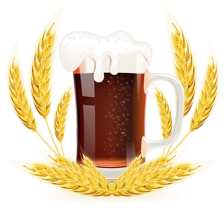 Oktoberfest Concept with Glass of Beer and Ears of Barley, vector isolated on white background Vector