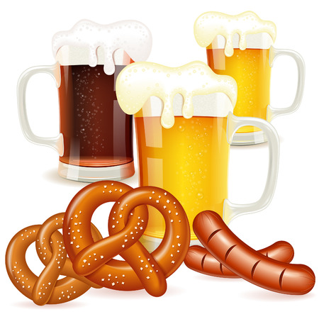 Oktoberfest Concept with Glasses of Beer, Pretzels and Sausages Vector