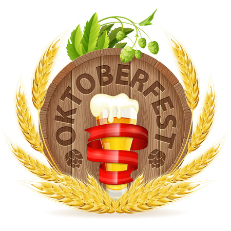 tun: Oktoberfest Poster with Barrel, Glass of Beer, Barley and Hops, vector isolated on white background