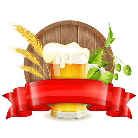 barley hop: Oktoberfest Poster with Barrel, Glass of Beer, Barley, Hops and Ribbon, vector isolated on white background Illustration