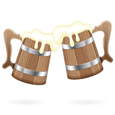 beer pint: Oktoberfest Poster - Two Wooden Mugs with Beer