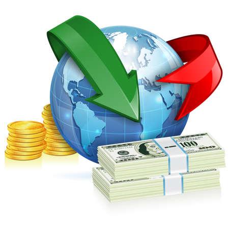 weltweit: Weltweiter Geldtransfer Konzept mit M�nzen Illustration
