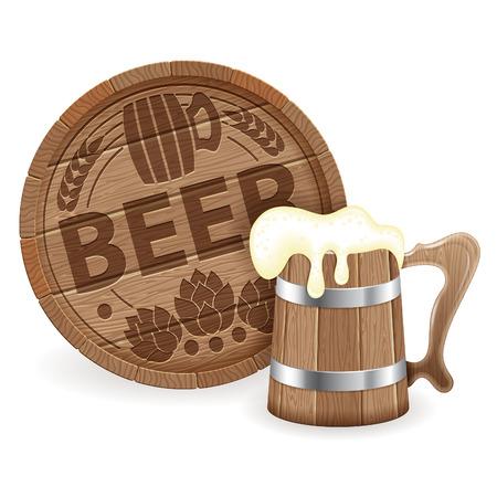 german beer: Oktoberfest Poster with Barrel of Beer and Wooden Mug