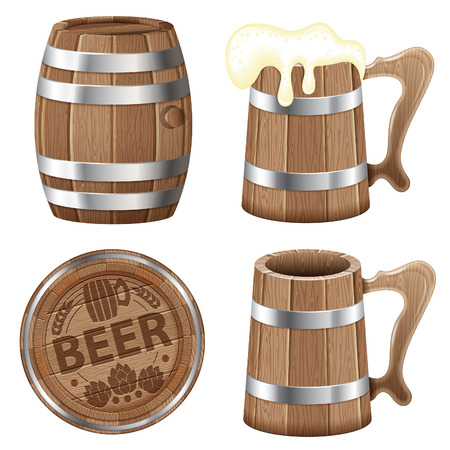 Beer Collection with Barrel of Beer and Wooden Mug Vector