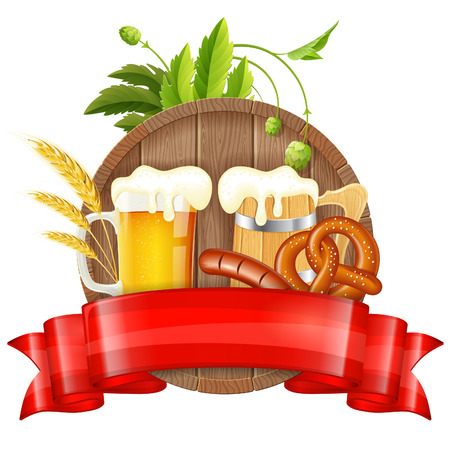 Oktoberfest Poster with Barrel, Glass of Beer, Barley, Hops, Pretzels, Sausages and Ribbon, vector isolated on white background Vector