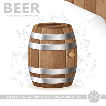 tun: Beer Poster with Barrel of Beer, Sheet of White Paper and Hand Drawing Icon isolated on white background