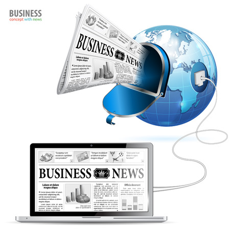 Global Technology Business Concept - Laptop with Earth and Business News Vector