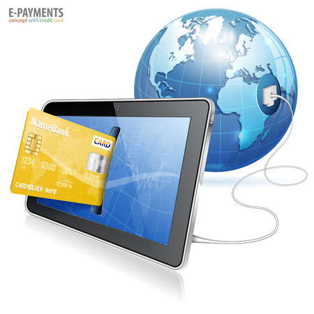 credit card payment: Electronic Payment Concept - Tablet PC with Credit Card and Earth