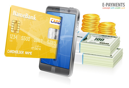 epayment: Mobile Smart Phone with Credit Cards and Money. Internet Shopping and Electronic Payments Concept, isolated on white background