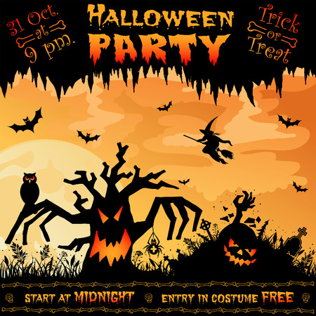 Halloween Poster with Tree on Full Moon Background, vector illustration Vector