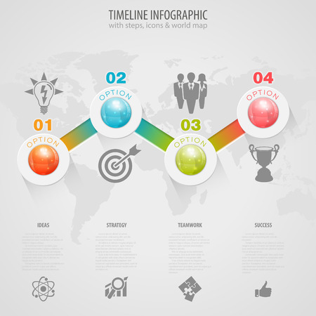 number icons: Business Timeline Infographic with Buttons, Icons and Number Options.  Illustration