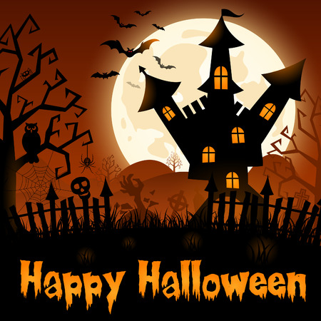 Halloween Poster with Castle on Full Moon  Vector