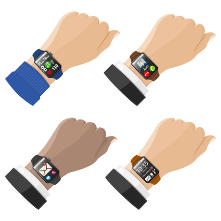 unread: Set Smart Watches on Hands with various applications. Illustration
