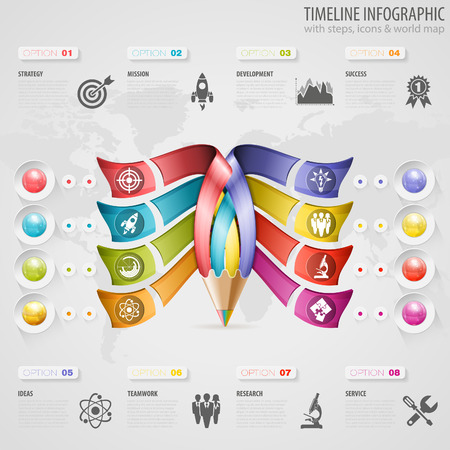 graph paper background: Business Timeline Infographic with Pencil, Icons and Number Options