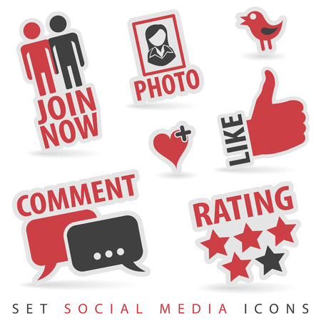 Set Social Media Stickers with Like, Speech Bubble, Heart, Join and Bird Icon, isolated vector Vector