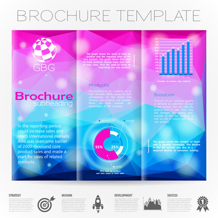 collect: Modern Vector Brochure Design Template with Triangle Pattern and Bokeh Effect Background, Collect Icons and Graphs.