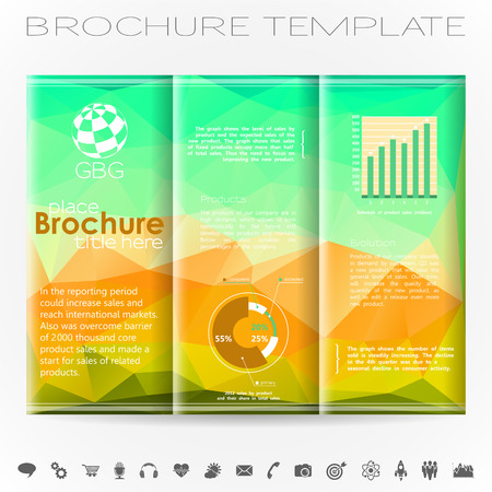verzamelen: Modern Brochure Design Template with Triangle Pattern, Collect Icons and Graphs. Stock Illustratie