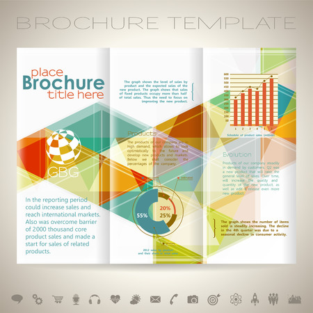 marketing target: Modern Brochure Design Template with Triangle Pattern, Collect Icons and Graphs. Illustration