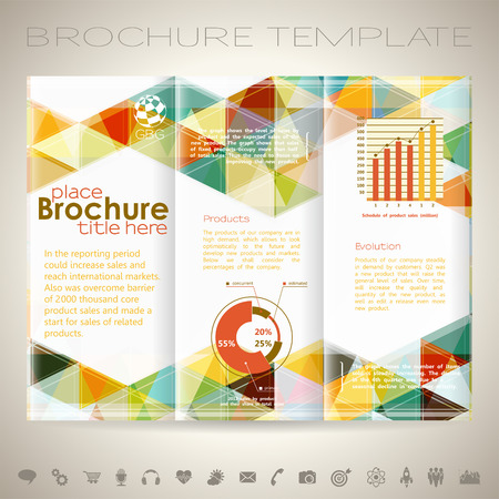 collect: Modern Brochure Design Template with Triangle Pattern, Collect Icons and Graphs. Illustration