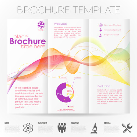 collect: Modern Brochure Design Template with Wave Pattern, Collect Icons and Graphs.