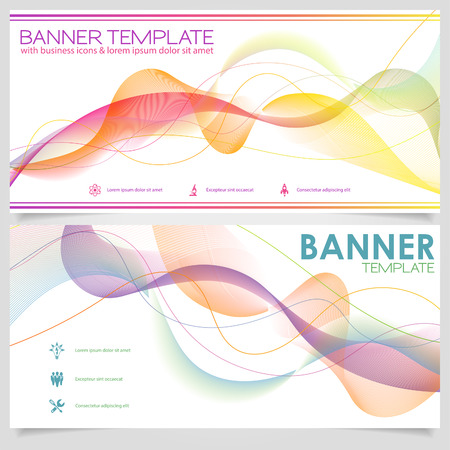 verzamelen: Modern Banner Design Template with Wave Pattern and Collect Icons. Stock Illustratie