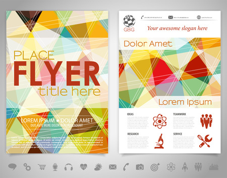 collects: Flyer Design with Triangle Pattern, Icons and Options Illustration