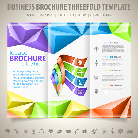threefold: Business Brochure Design with Triangle Pattern, Pencil, Icons and Number Options