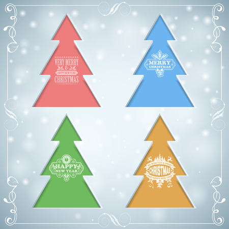 Christmas Background with Set of Trees, Vintage Scroll and Labels, vector template for design Vector