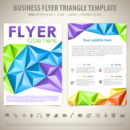 threefold: Business Flyer Design with Triangle Pattern, Icons and Number Options. Vector Template. Illustration
