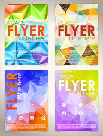 collect: Collect Flyers Design with Triangle Pattern, Icons and Options. Vector Template.