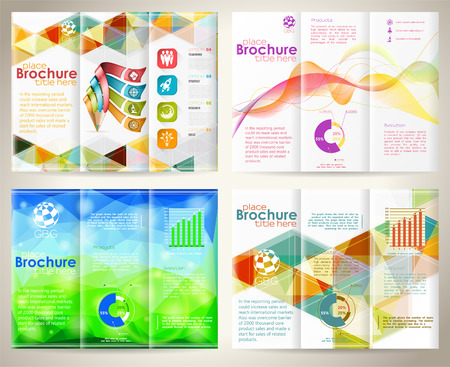 collect: Collect Business Brochures Design with Triangle Pattern, Pencil, Icons, Wave Pattern and Number Options. Vector Template.