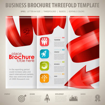 arrow icons: Business Brochure Design with Arrow, Icons and Options. Vector Template.