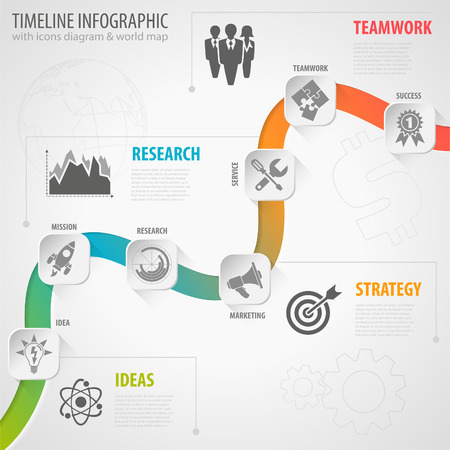 strategy diagram: Business Timeline Infographic with Paper Buttons, Icons and Steps. Vector Template. Illustration