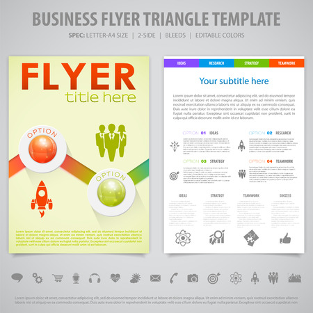 bleed: Business Flyer, Brochure Design with Icons, Number Options, Timeline Infographics. Vector Template.