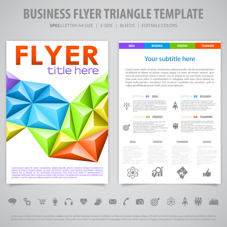 Business Flyer Design with Triangle Pattern, Icons and Number Options. Vector Template. Vector
