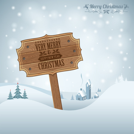 Christmas background with Wooden Plaque, Tree and House Vector