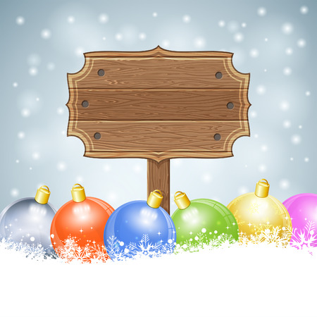 wooden plaque: Christmas background with Wooden Plaque and Bauble