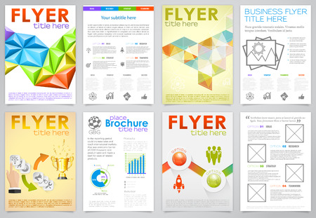 verzamelen: Verzamel Zaken Flyers Design met Triangle Pattern, Pictogrammen en opties Stock Illustratie