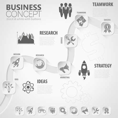 research paper: Business Timeline Infographic with Paper Buttons, Icons and Steps. Vector Template. Illustration