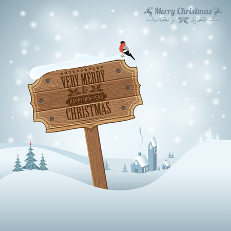 wooden plaque: Christmas background with Wooden Plaque, Tree, Bullfinch and House. Vector Template for Cover, Flyer, Brochure.
