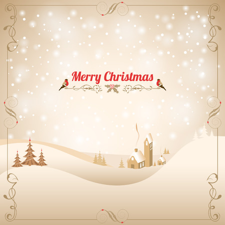 Christmas background with Retro Frame, Tree, Bullfinch and House. Vector Template for Cover, Flyer, Brochure. Vector