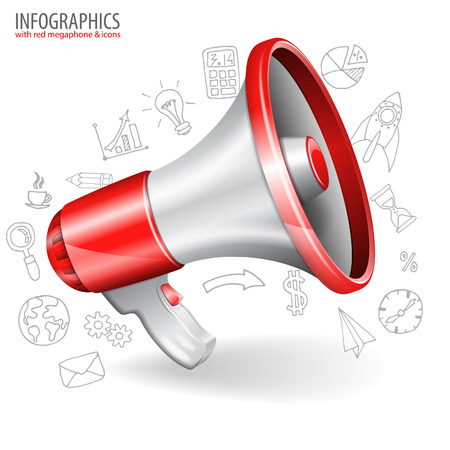 speaker icon: Megaphone isolated on white background with Business Hand Drawn Icons. You can change the color in one click. Vector illustration. Illustration