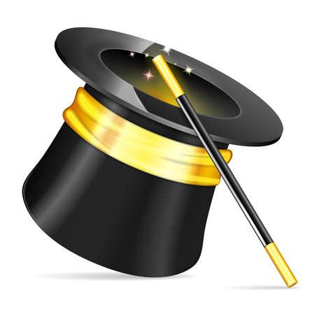 mago: Sombrero de mago con varita del mago, icono del vector aislado en el fondo blanco