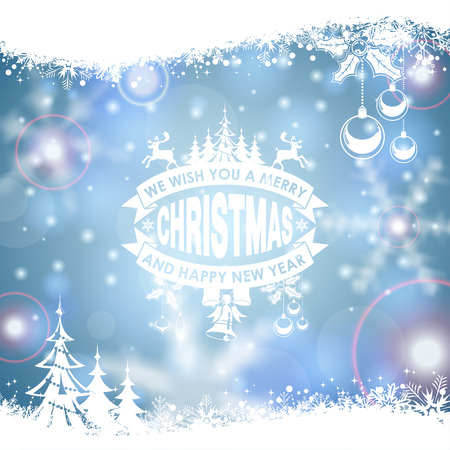 grunge border: Christmas Frame with Retro Label, Tree, Deer, Bauble and Snowflake on Blurred Bokeh Background. Vector Template for Flyers and Brochure.