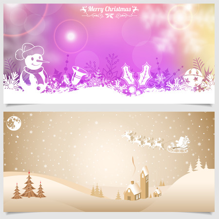 collect: Collect Christmas Banners with Retro Label, Tree, Santa, House, Snowman. Vector Template for Cover, Flyer, Brochure.