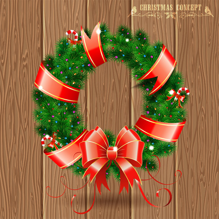 Decorative Christmas Wreath with Ribbon, Candy and Decoration element on Wooden Boards background, vector illustration. Vector