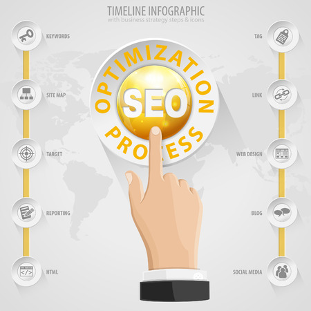 Search Engine Optimization (SEO) Concept with Buttons, Icons and Hand. Vector Template. Vector